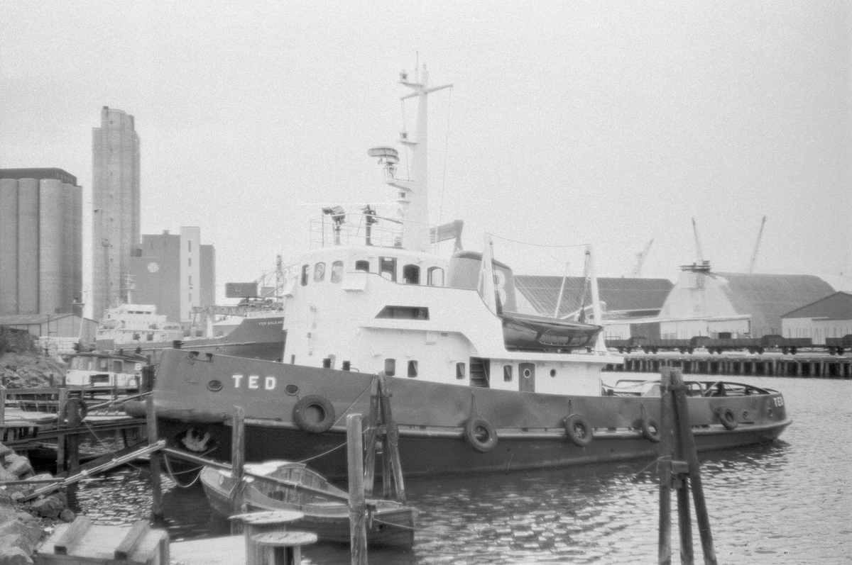 Fartyg: TED                           Bredd över allt 7,67 meterLängd över allt 24,57 meterByggår: 1961Varv: AB Åsiverken,ÅmålÖvrigt: Maskin: MaK-Diesel 8ZU 421 8cy dieselmotor på 1.625 Ihk / 1.300 Ehk (955 kW) m SäfflepropellerLevererades den 9 dec 1961 till Ångbåts AB Bohusländska Kusten, Uddevalla som TED. Köptes den 27 maj 1969 av Uddevalla Stad, Uddevalla, övertogs den 1 nov 1971 av AB Bohustug Ltd, Uddevalla, den 7 okt 1981 av Ångbåts AB Bohusländska Kusten, Uddevalla, värderad till 1.750.000 kr, i aug 1983 till Uddevalla Bogser AB, Uddevalla, den 22 mars 1990 till Uddevalla Hamn AB, Uddevalla och 1993 till Uddevalla Hamnterminal AB, Uddevalla för 500.000 kr. Köptes den 1 jan 1997 av Röda Bolaget AB, Göteborg som inte behövde henne utan sålde vidare den 5 jan till Merirakennus OY, Helsingfors för 1,9 Mkr som döpte om till RETU. Återköptes till Sverige i nov 1998 av Maskin & Haverikonsult KA AB /Avelins/, Stockholm för 2,6 Mkr. Återfick också namnet TED.Såld/överlåten till Marin & Hamnservice KA AB 18/8 2006.Text: Bengt Westin