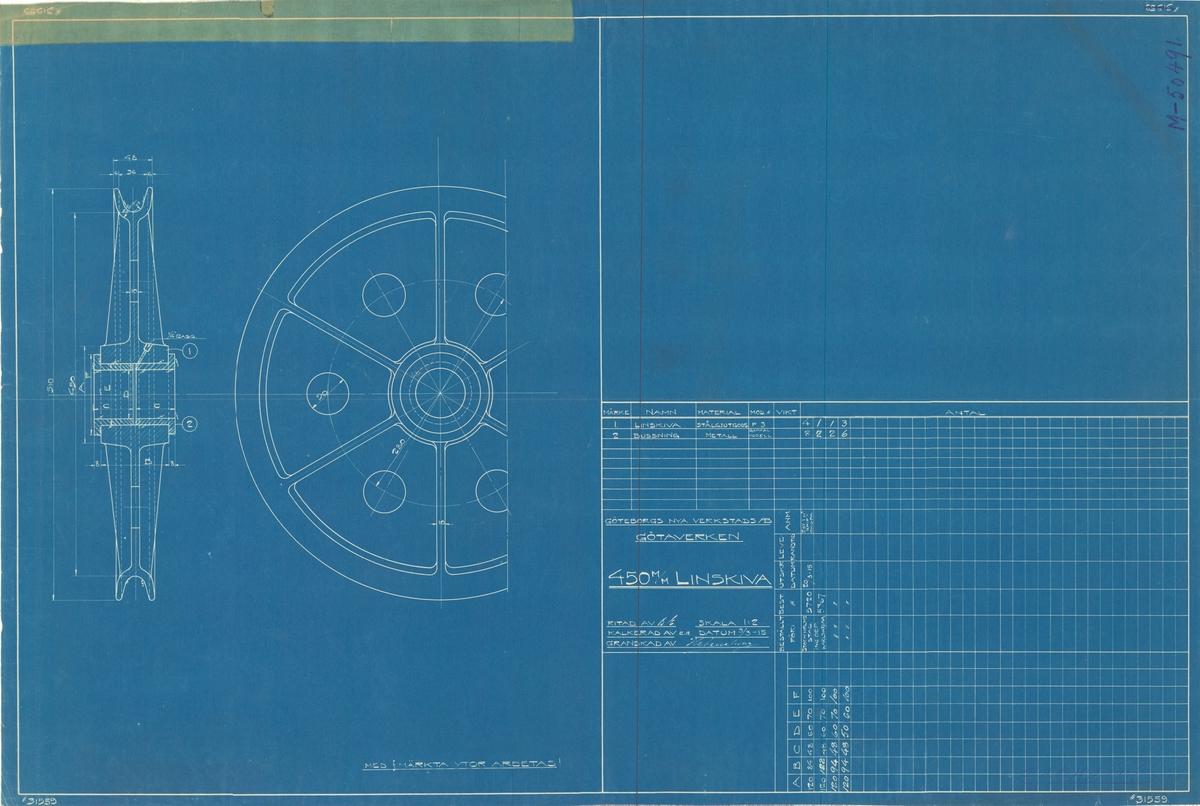 Kran. 450 mm limskiva