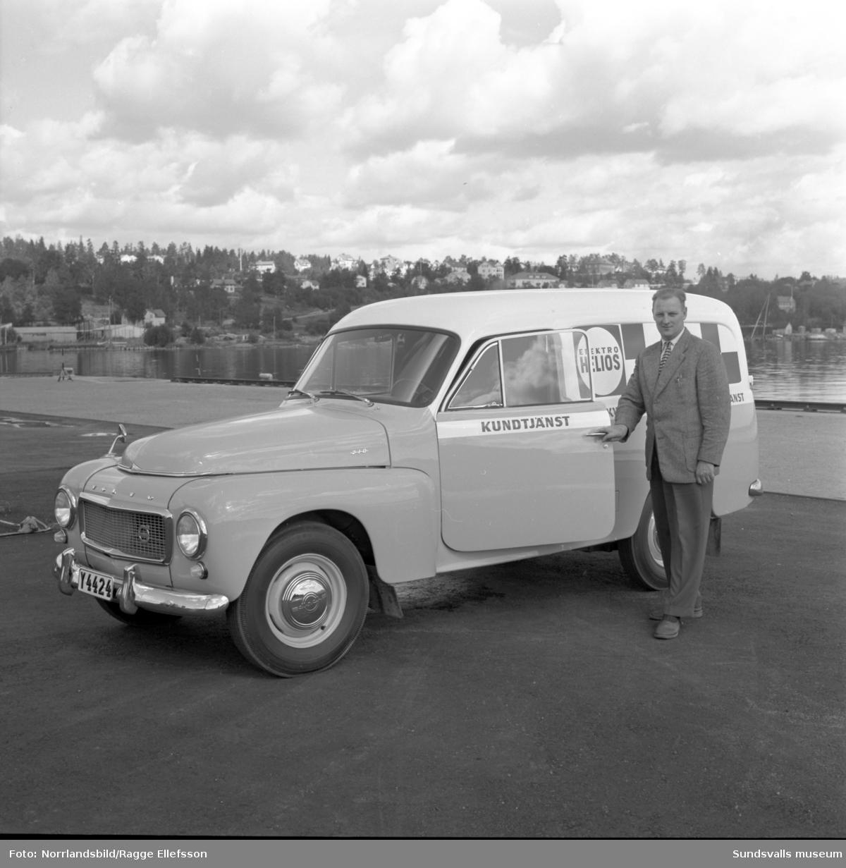 Elektro Helios nya Volvo Duett servicebil visas upp i hamnen.