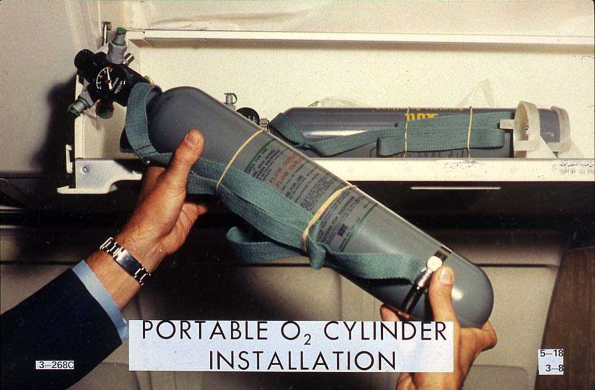 Bærbært CO2 apparat inne i en flykabin på en Boeing 737-200.