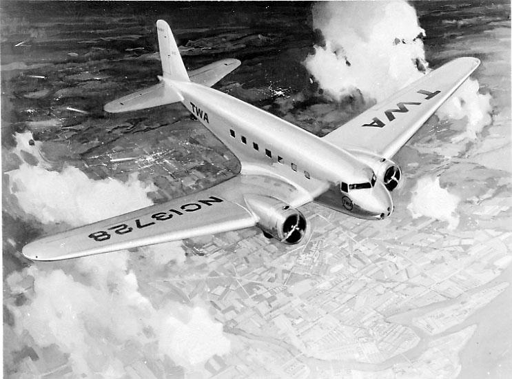 Luftfoto, 1 fly, Douglas DC-2 fra TWA