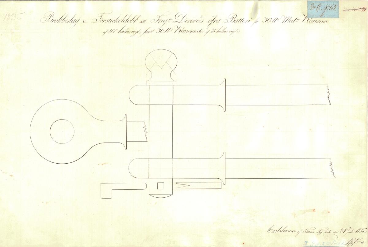 Brockbeslag och forstickeldubb till fregatten Desirées övre batteri för 30 pundiga kanoner