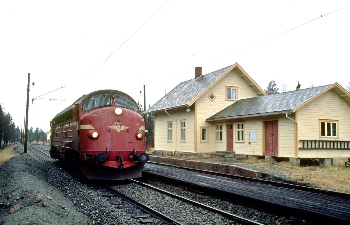 Kutjern stasjon. Vi har stoppet for å ta et bilde, med løslok Di 3 630. Lokomotivet skal til Eina, for å være toglok på Valdresbanen en uke. Lokomotivet på Valdresbanen ble byttet ut hver søndag til/fra Trondheim, der vedlikeholdsbasen til NSB sitt dieselmateriell var.
