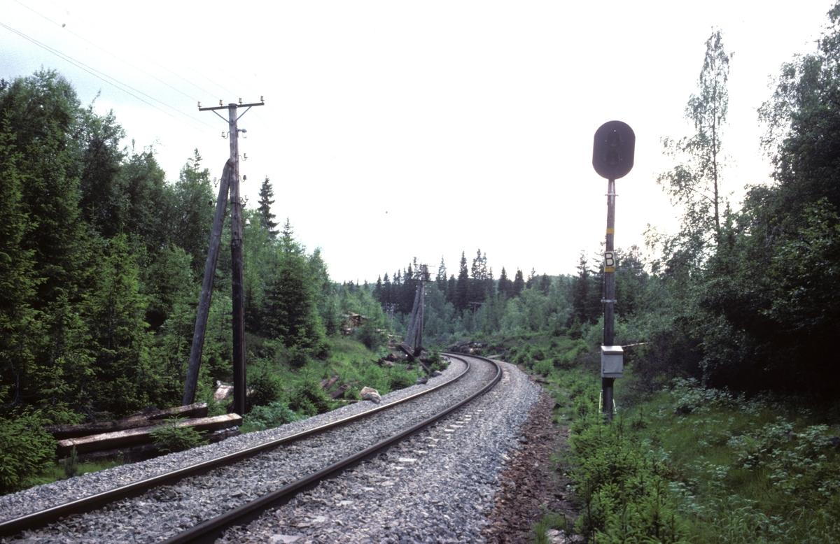 """Enkelt innkjørsignalapparat Formofoss stasjon. På 1930 tallet innså NSB at man ikke hadde økonomi til å bygge ut fullstendige signalanlegg på alle stasjoner. Flagg (håndsignal) var den vanligste formen for signal på den tiden, noe som var usikkert og medførte at tog måtte kjøre svært sakte inn mot stasjonene. For å forbedre signalgivingen, øke hastigheten og bedre sikkerheten bygde man ut såkalte """"fjernstilte elektriske håndsignal"""". I Trondheim distrikt ble disse montert på høye tremaster, slik som her. Dette signalet på Formofoss hadde også telefon, noe som var uvanlig """"luksus""""."""