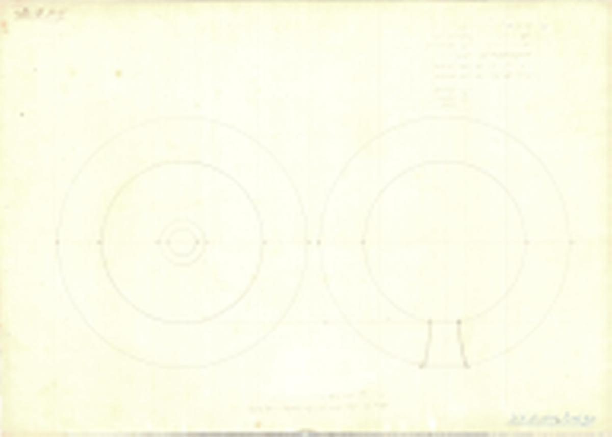 Ritning till ihåliga kulor för 6 ½ tums bombkanon