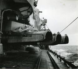 53 cm. torpedtuber på jagaren Mjölner, april 1945.