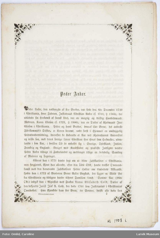 6 sider med biografi om Peder Anker. Fra s 9 - 16, (paginert fra s 10)