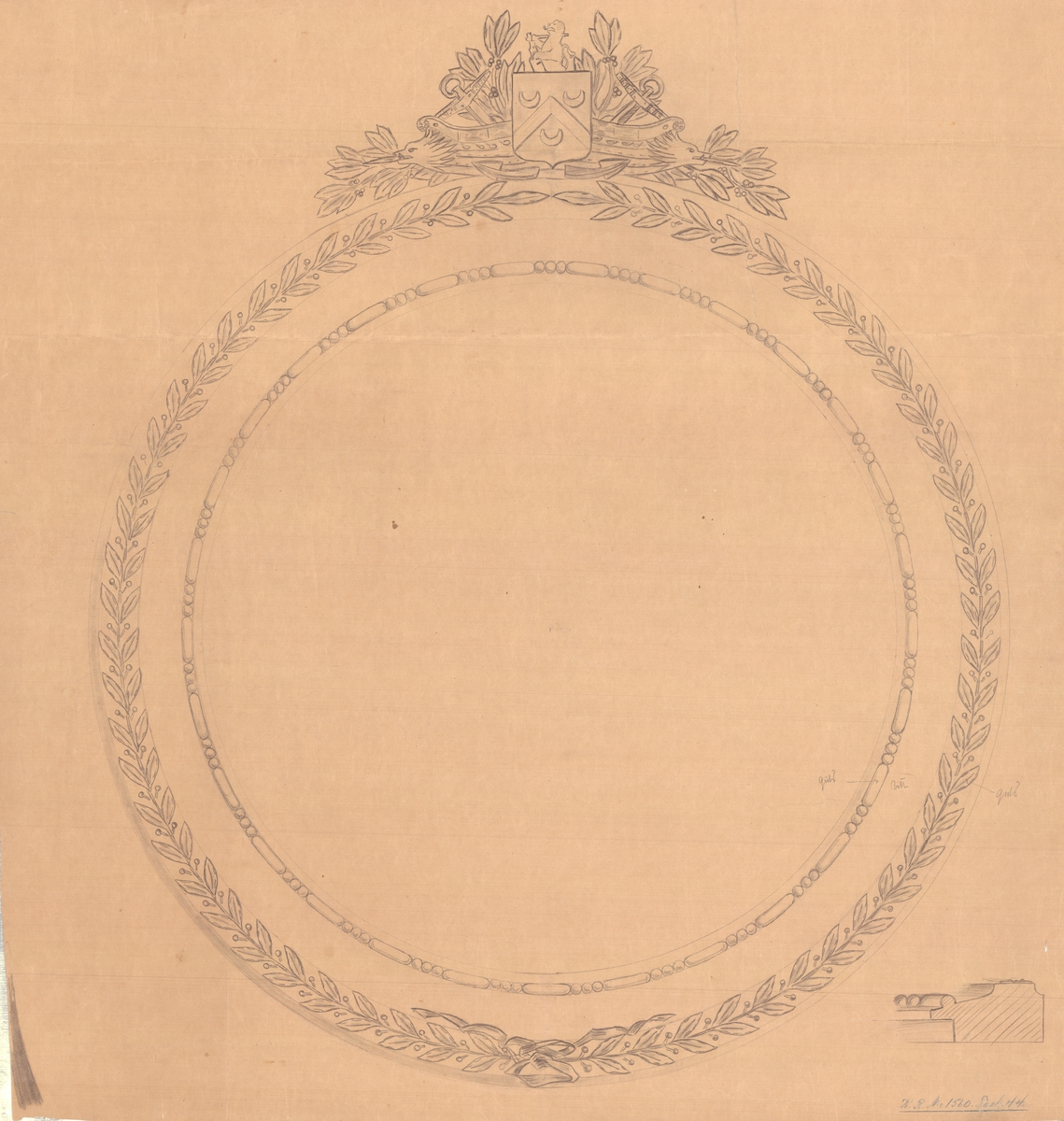 Förslag till ram att användas till Chapmans medaljong.