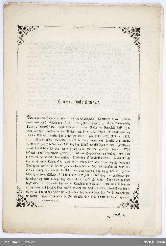 Fortsettelse fra tekstark J. Biografi om Laurits Weidemann, 8 sider fra s. 33 - 40
