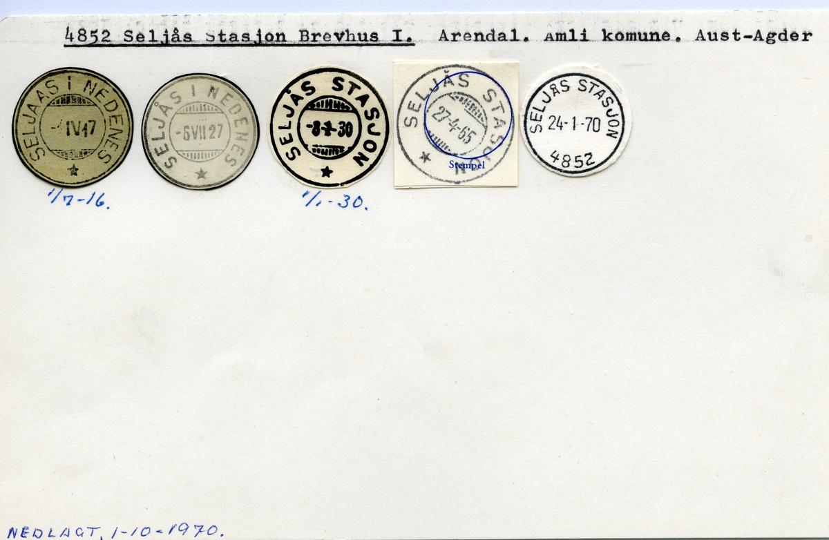 Stempelkatalog  4852 Seljås stasjon, Åmli kommune, Aust-Agder (Seljaas i Nedenes 1916)