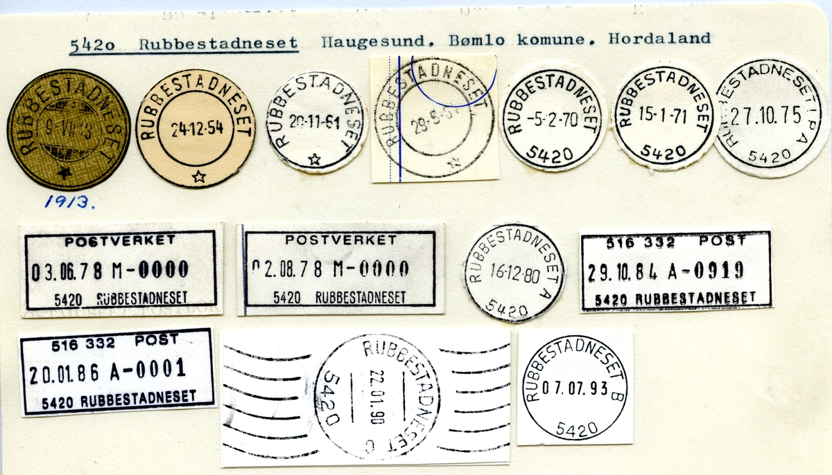 Stempelkatalog 5420 Rubbestadneset, Bømlo, Hordaland