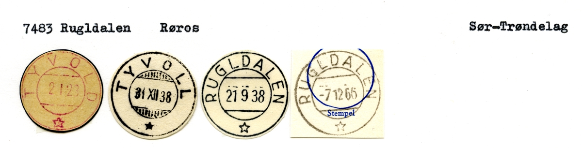Stempelkatalog 7483 Rugldalen (Tyvoll), Røros, Sør-Trøndelag