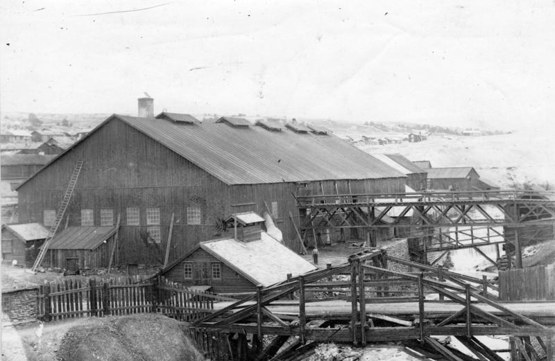 Smelthytta sett fra sør, 1890-åra. Foto: Rørosmuseet