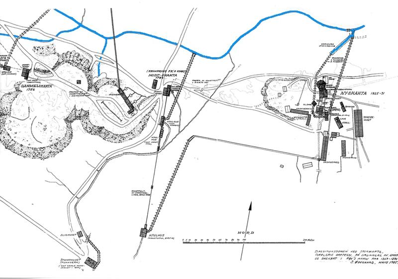 Kartet viser vassrenna som kom fra Damtjønna ved Øvre Storwartz, og vi ser også at det kom ei renne fra Klettjønna som gikk inn på den oppmurte renna på Nedre Storwartz. Den skrå streken øverst til høyre er den oppmurte renna.