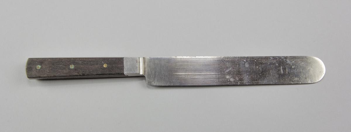 Bordskniv av stål och trä. Blad och tånge gjutet i stål. Handtag av svärtat trä, fastsatt med tre nitar av mässing. Rakt blad.