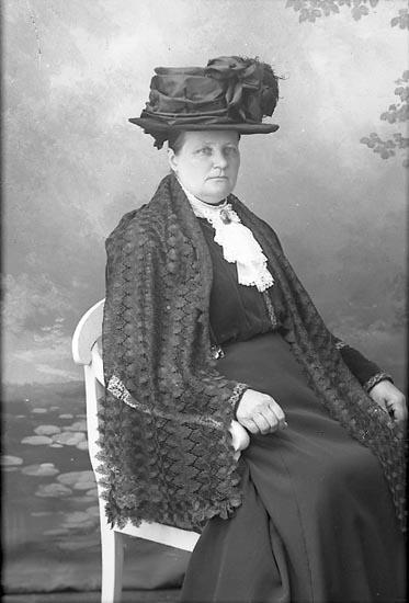"""Enligt fotografens journal Lyckorna 1909-1918: """"Alexandersson, Fru Lyckorna""""."""
