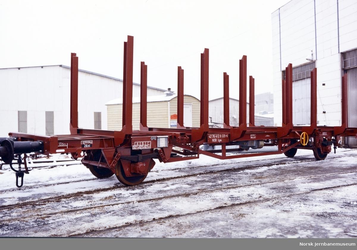 NSB prototype tømmervogn litra Lps nr. 412 8020 ved levering fra Strømmens Værksted