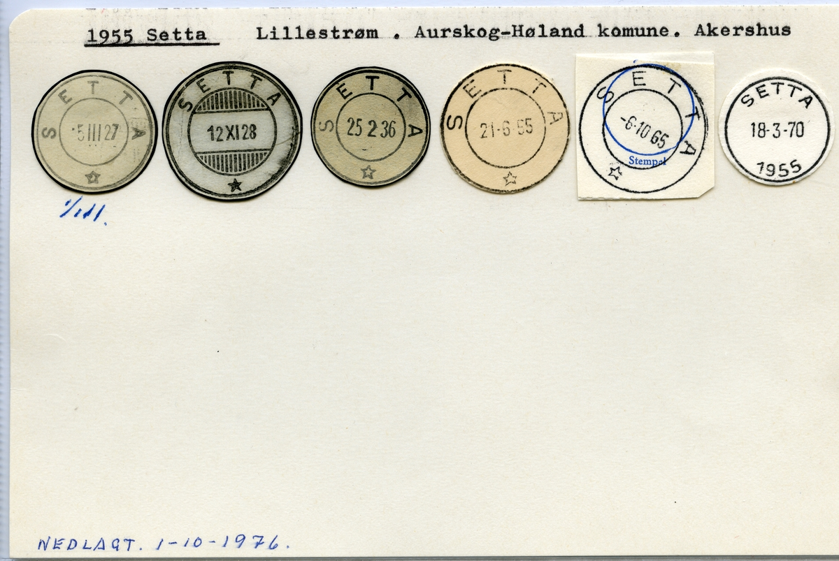 Stempelkatalog, 1955 Setta, Aurskog-Høland kommune, Akershus