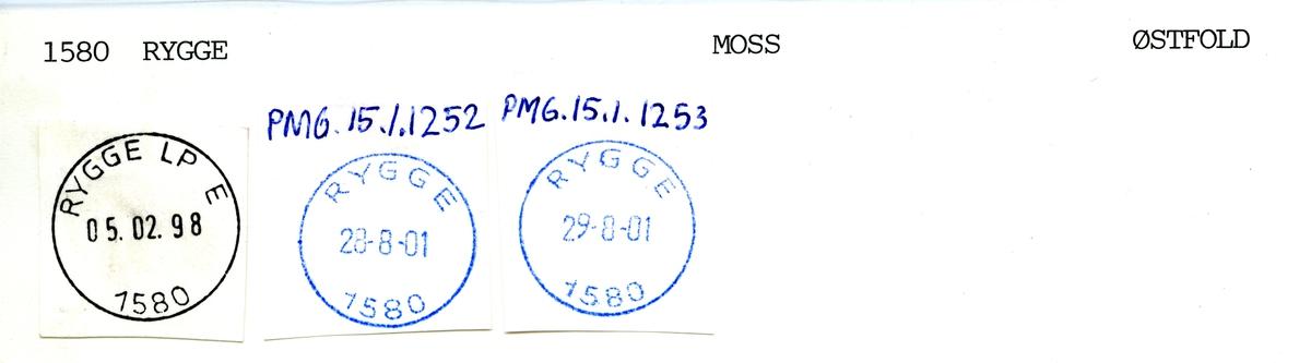 Stempelkatalog 1580 Rygge (Rygge stasjon), Moss, Østfold