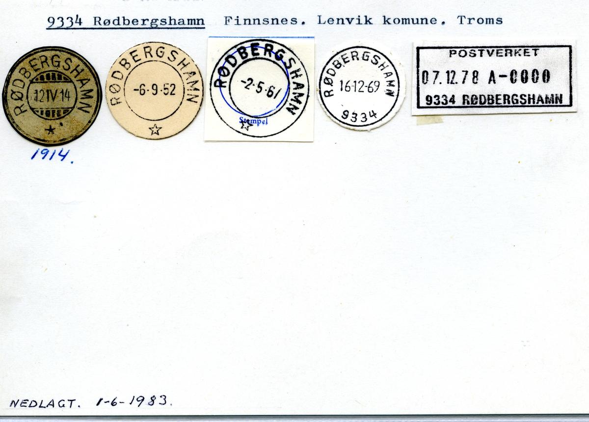 Stempelkatalog 9334 Rødbergshamn, Lenvik, Troms
