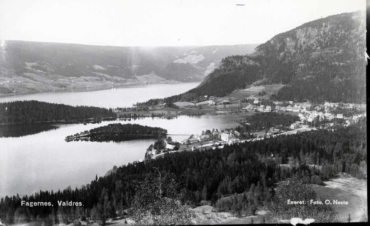 Panorama over Strandefjorden og Fagernes tatt fra Ranheimsbygda