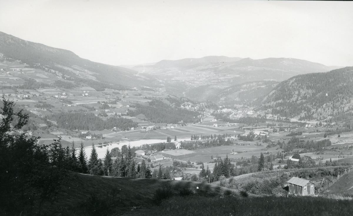 Utsikt fra øystre Bagn mot Reinli og vestre Bagn. Jordbrukslandskap