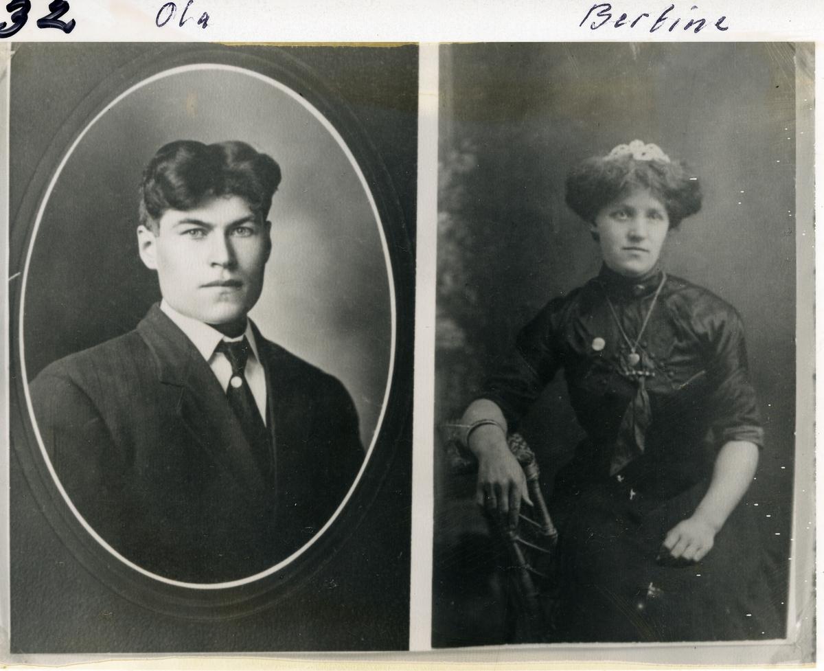 Søsknene Ola (1875), Gullik (1885) og Bertine(1887). De reiste til Amerika mellom 199-1910. Foreldrene er Ivar Iversen Kamrud og Anne Kamrud.  Første bilde: Ola t.v. og Gullik t.h. Andre bilde: Ola t.v. og Bertine