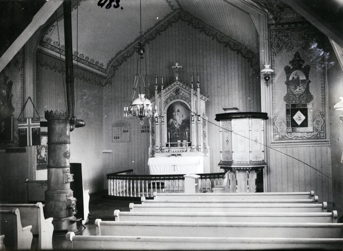Interiør Hensåsen kyrkje, Vang i Valdres
