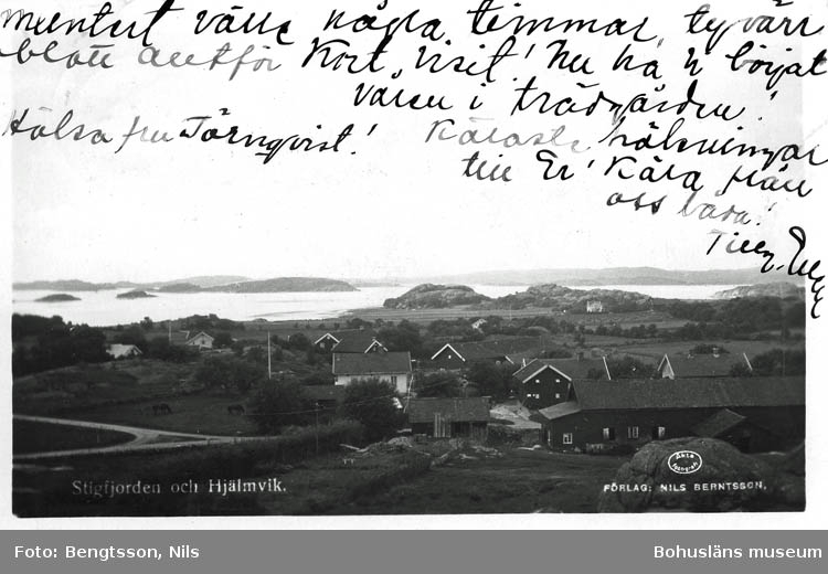 """Text på kortet:""""Stigfjorden och Hjälmvik""""."""
