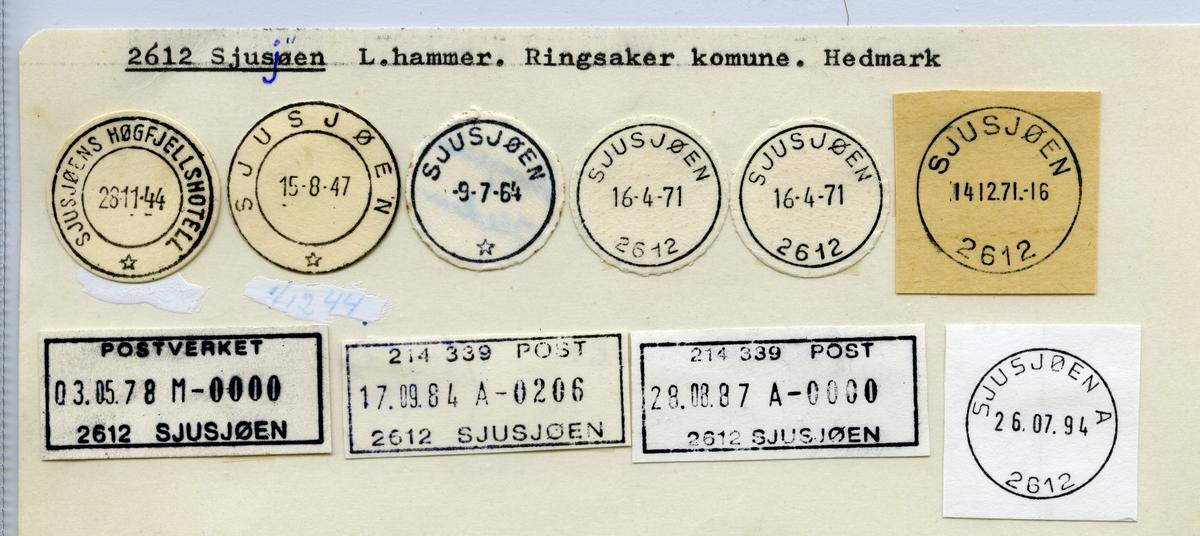 Stempelkatalog 2612 Sjusjøen, Ringsaker, Hedmark
