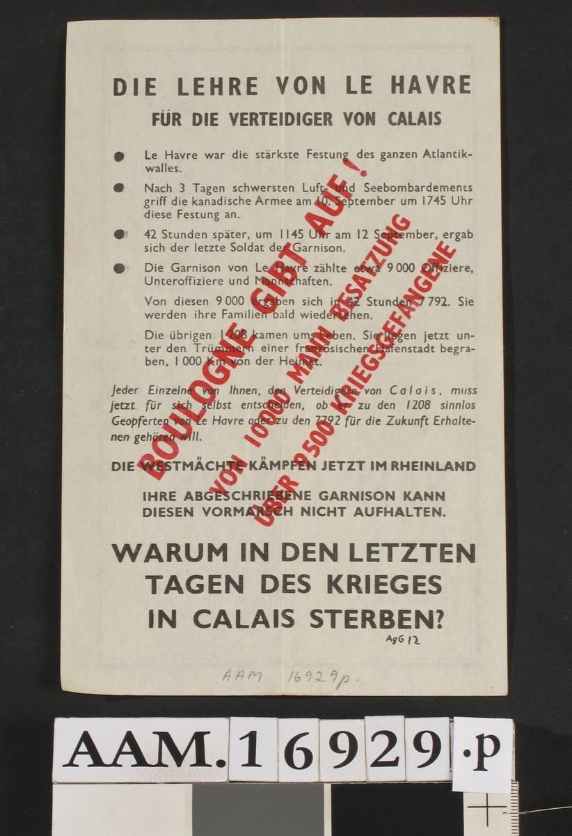 Flyveblad, passerseddel for tyske tropper som overgir seg.