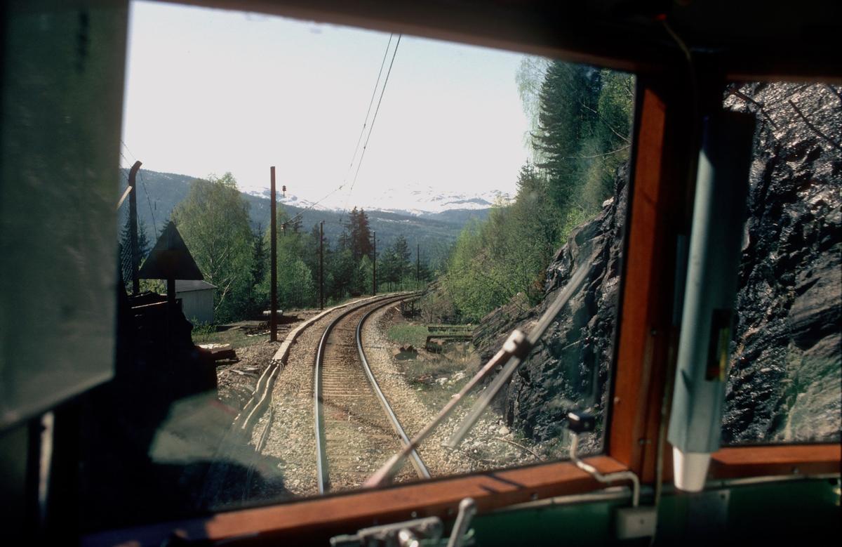 Utsyn fra lokomotivet på vei ut av Haversting-tunnelen, rett før Ørgenvika stasjon.