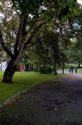 Denne telefonkiosken står i Lademoen park i Trondheim, og er en av de 100 vernede kioskene i Norge. De røde telefonkioskene ble laget av hovedverkstedet til Telenor (Telegrafverket, Televerket). Målene er så å si uforandret.  Vi har dessverre ikke hatt kapasitet til å gjøre grundige mål av hver enkelt kiosk som er vernet.  Blant annet er vekten og høyden på døra endret fra tegningene til hovedverkstedet fra 1933. Målene fra 1933 var: Høyde 2500 mm + sokkel på ca 70 mm Grunnflate 1000x1000 mm. Vekt 850 kg. Mange av oss har minner knyttet til den lille røde bygningen. Historien om telefonkiosken er på mange måter historien om oss.  Derfor ble 100 av de røde telefonkioskene rundt om i landet vernet i 1997. Dette er en av dem.