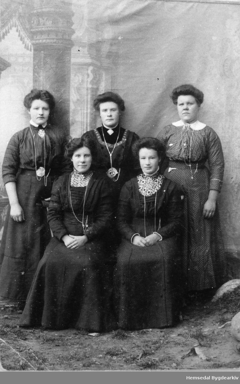 Fremst frå venstre: Ukjend, Anne Viljugrein, fødd 1897. Bak frå venstre: Margit Viljugrein, fødd 1887; Barbo Viljugrein, fødd 1896 og Birgit Viljgrein, fødd 1891.