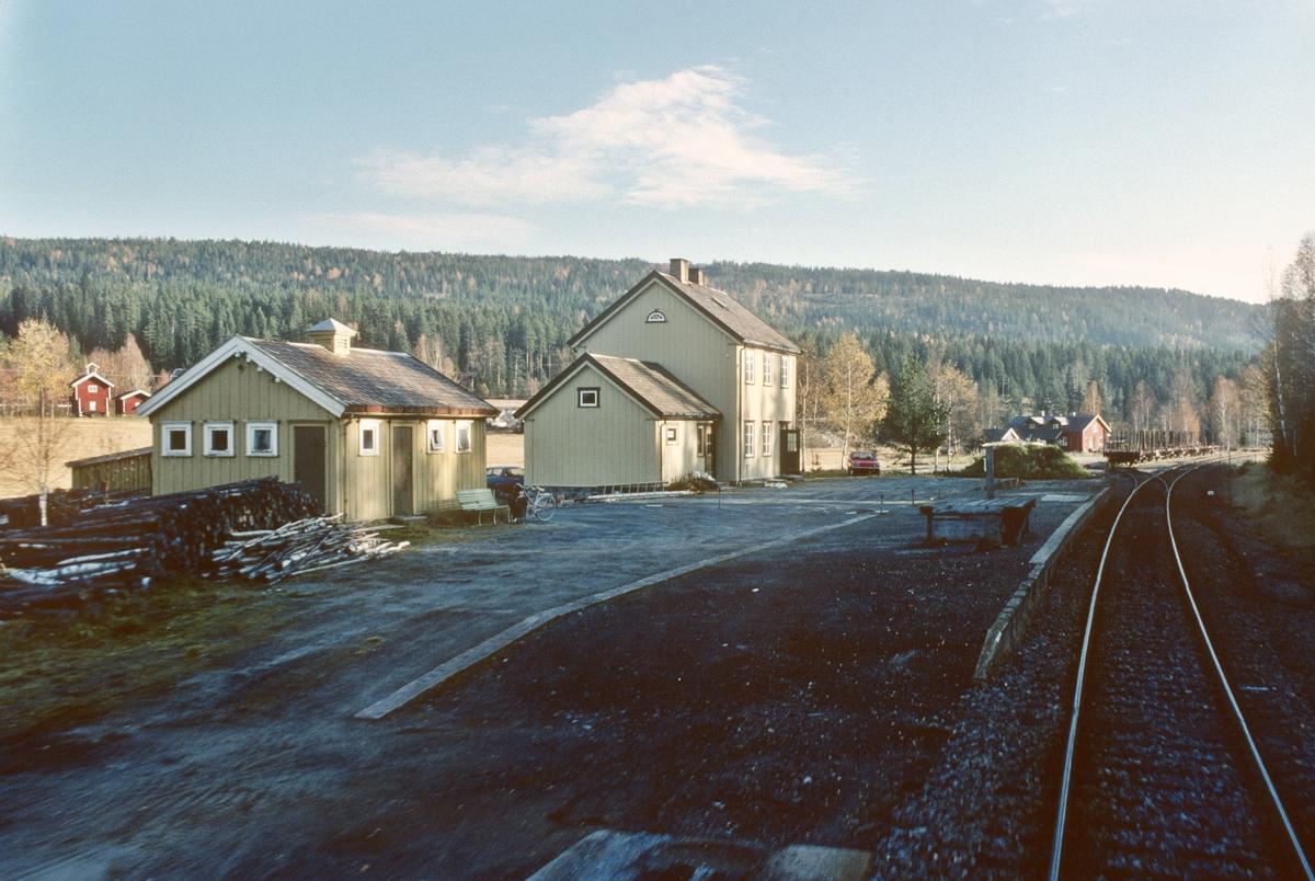Lampeland stasjon sett fra førerrommet i persontog til Kongsberg.