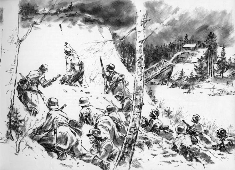 Fenrrik Domstad i kamp med tyskerne forran Sorma-stillingen