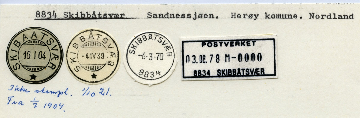Stempelkatalog  8834 Skibbåtsvær, Herøy kommune, Nordland