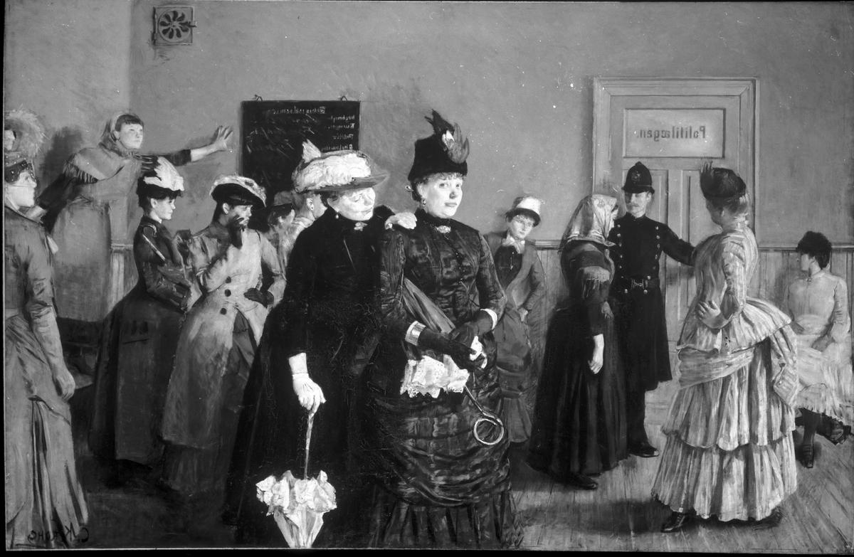 Oljemålning Albertine i politilegens ventevaerelse. Christian Krohg.