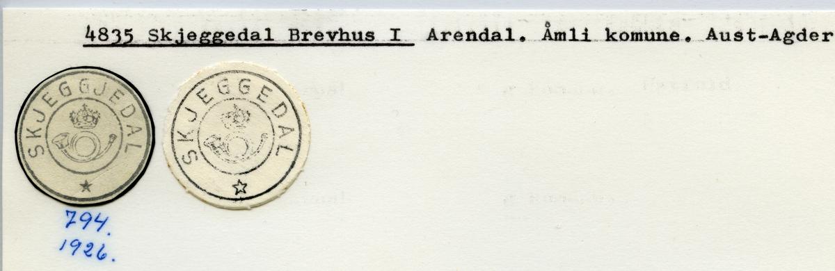 Stempelkatalog  4835 Skjeggedal, Åmli kommune, Aust-Agder