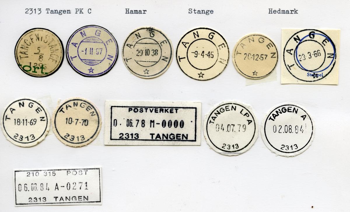 Stempelkatalog 2313 Tangen (Tangen i Stange), Stange, Hedmark