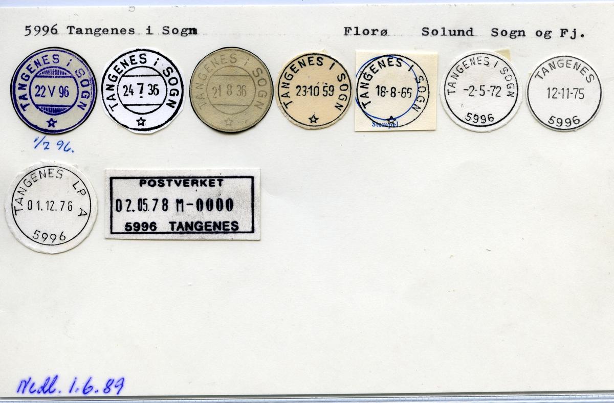 Stempelkatalog 5996 Tangenes (Tangenes i Sogn), Solund, Sogn og Fjordane