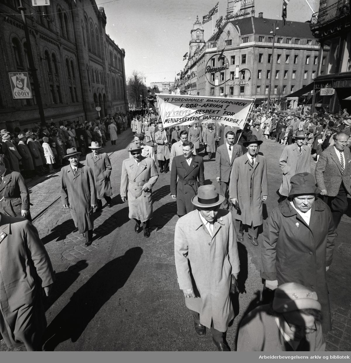 1. mai 1960 i Oslo.Karl Johans gate..Demonstrasjonstoget..Parole: Vi fordømmer raseterroren i Sør-Afrika! Vi krever respekt for menneskeverdet uansett farge!.