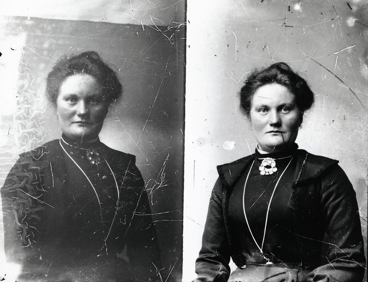 Portrett i halvfigur av  Oline Ulneshagen (1890-1956) eller Marie Iversdatter Kamrud