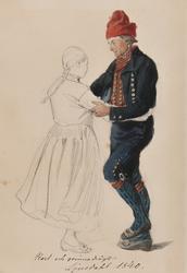 """""""Karl och qvinnodrägt, Ljusdahl 1840"""" Blyerstskissad kivnna"""