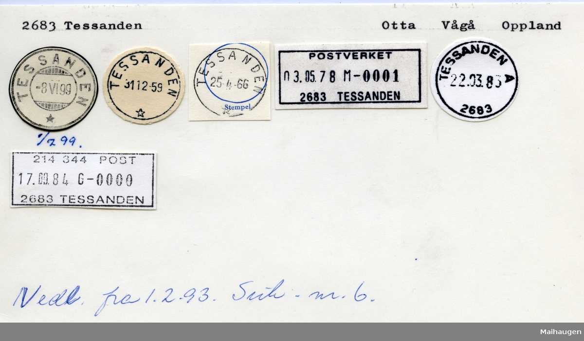 Stempelkatalog 2683 Tessanden, Vågå, Oppland