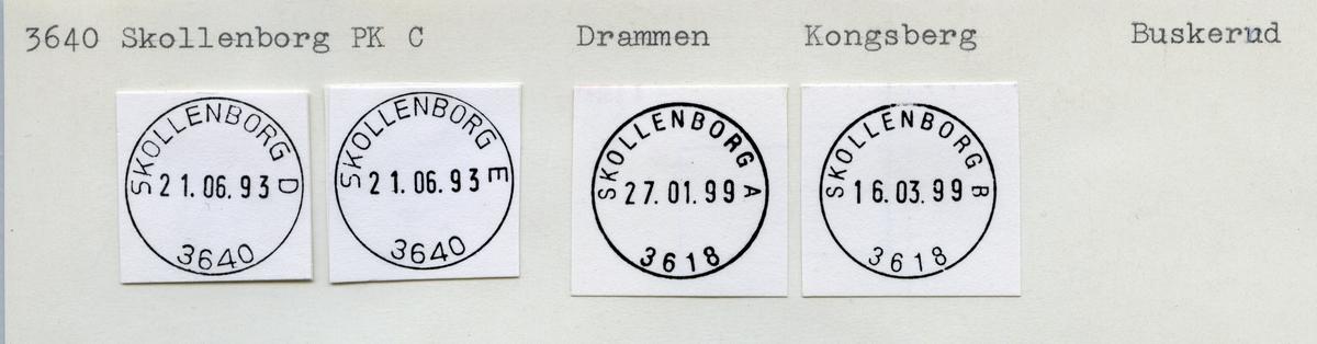 Stempelkatalog  3640 Skollenborg, Kongsberg kommune, Buskerud