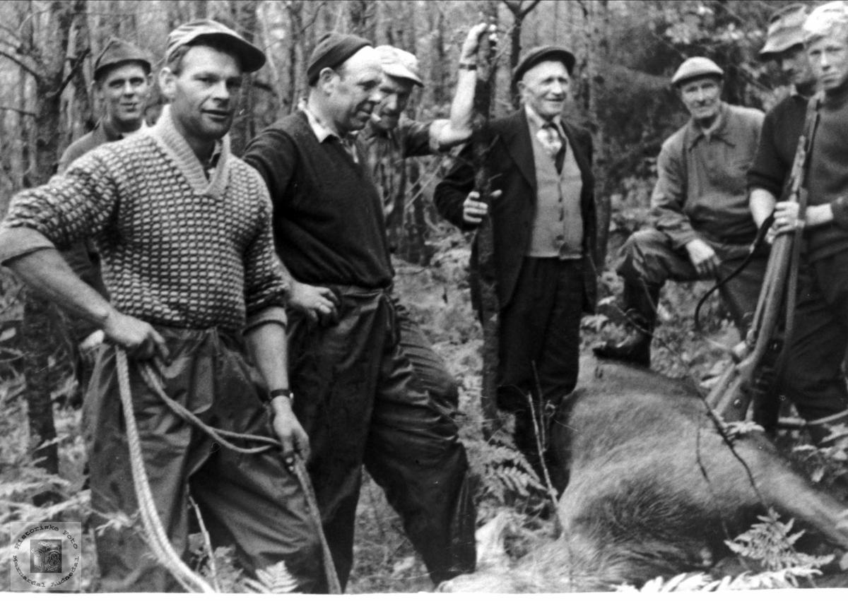 Personer på elgjakt i Bjelland