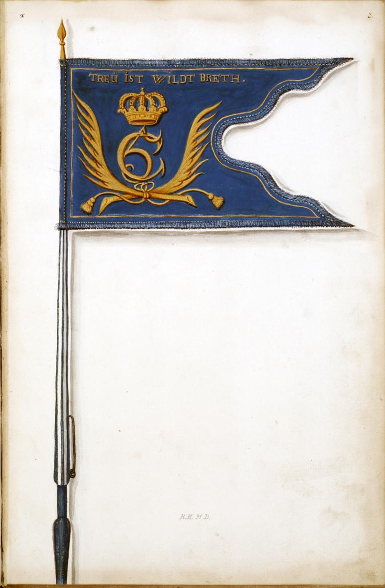 Avbildning i gouache föreställande fälttecken taget som trofé av svenska armén. Den avbildade dragonfanan finns bevarad i Armémuseums samling, för mer information, se relaterade objekt.