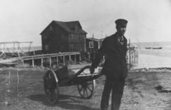 Bilde av en mann i dress og kasjettlue som trekker en landvo