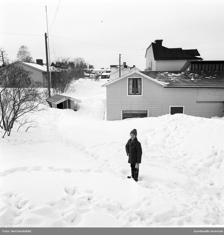 Vinterbilder från Gränsgatan på Södermalm. Villor, snöhögar, hundar, barn och en mamma som klättrar på balkongräcket.